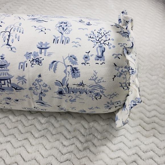 Awe Inspiring Newport Neck Roll Pillow Blue Toile Frankydiablos Diy Chair Ideas Frankydiabloscom